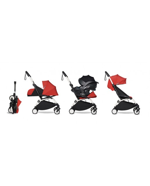 All-in-one BABYZEN stroller YOYO2 0+, car seat and 6+  | White Chassis Red