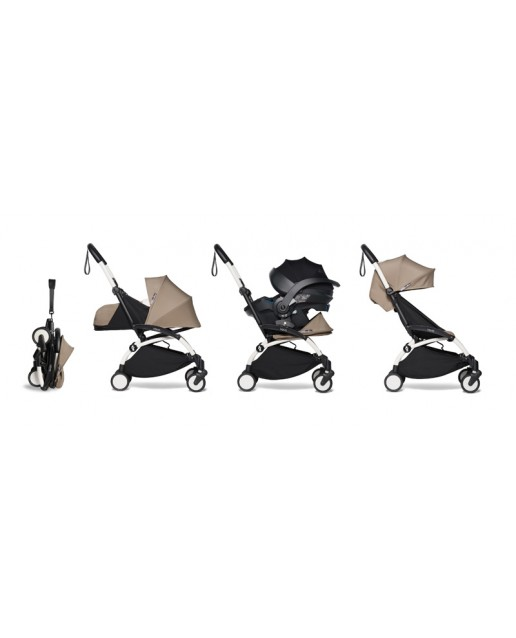 All-in-one BABYZEN stroller YOYO2 0+, car seat and 6+ | White Chassis Taupe