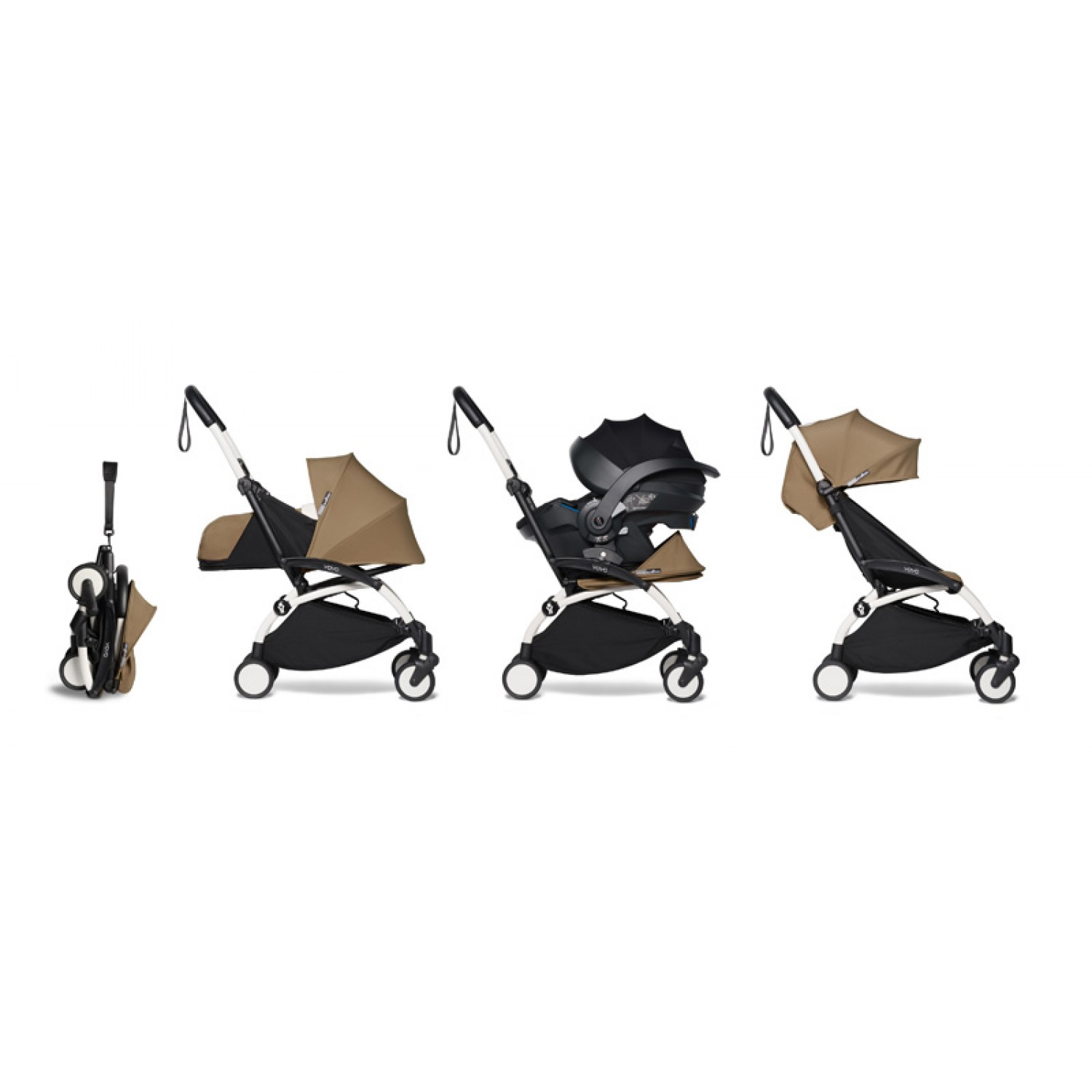 All-in-one BABYZEN stroller YOYO2 0+, car seat and 6+  | White Chassis Toffee