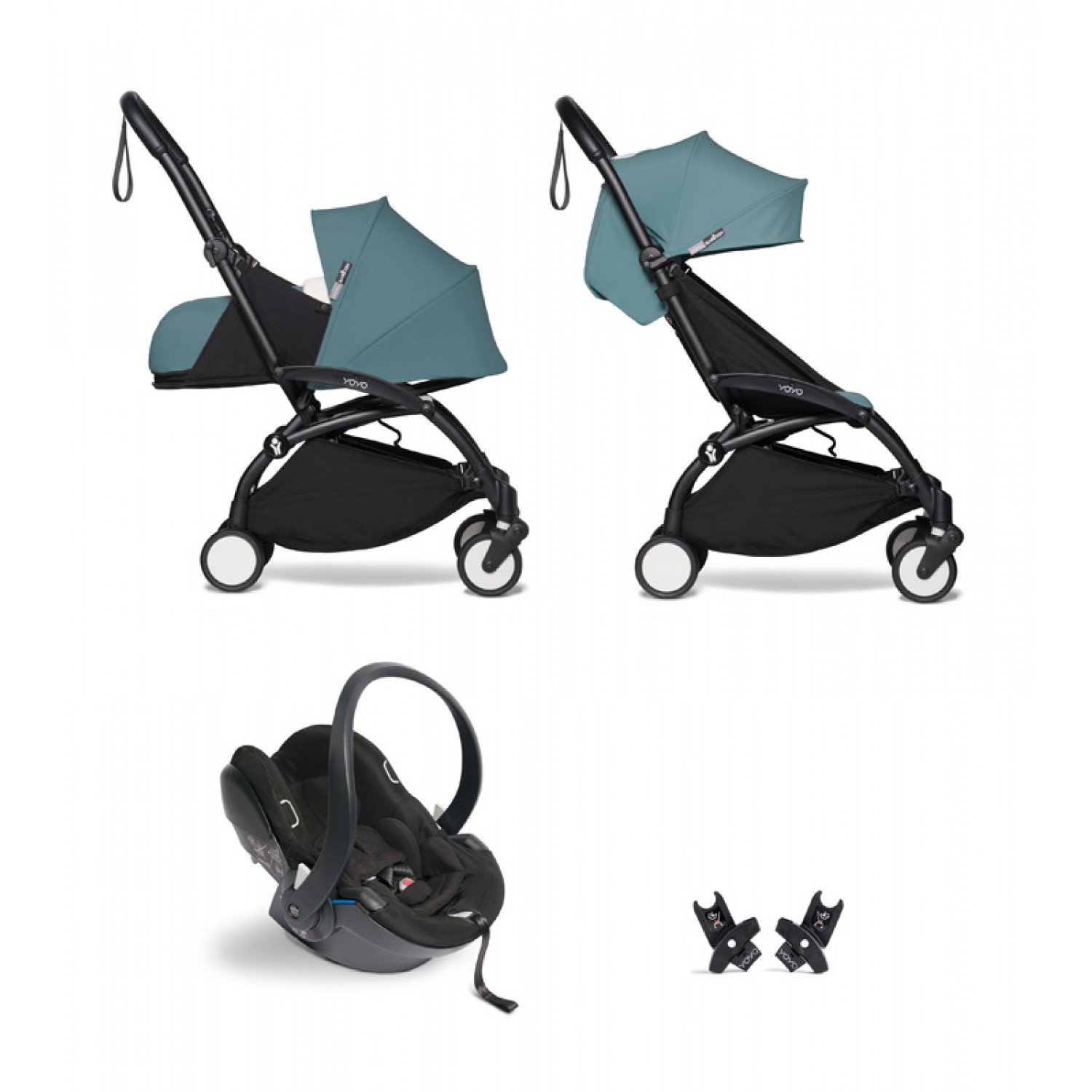 All-in-one BABYZEN stroller YOYO2 0+, car seat and 6+ | Black Chassis Aqua