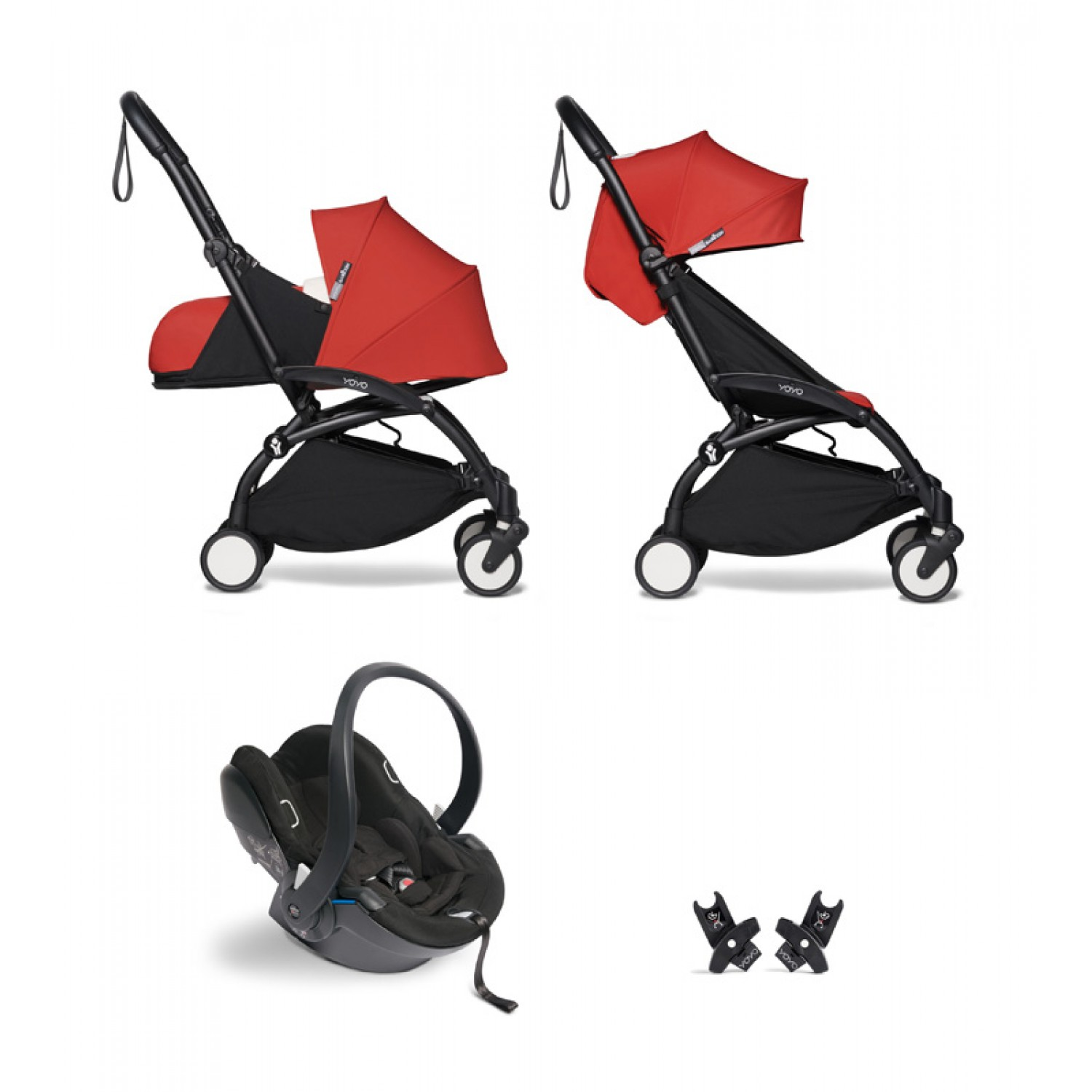 All-in-one BABYZEN stroller YOYO2 0+, car seat and 6+  | Black Chassis Red