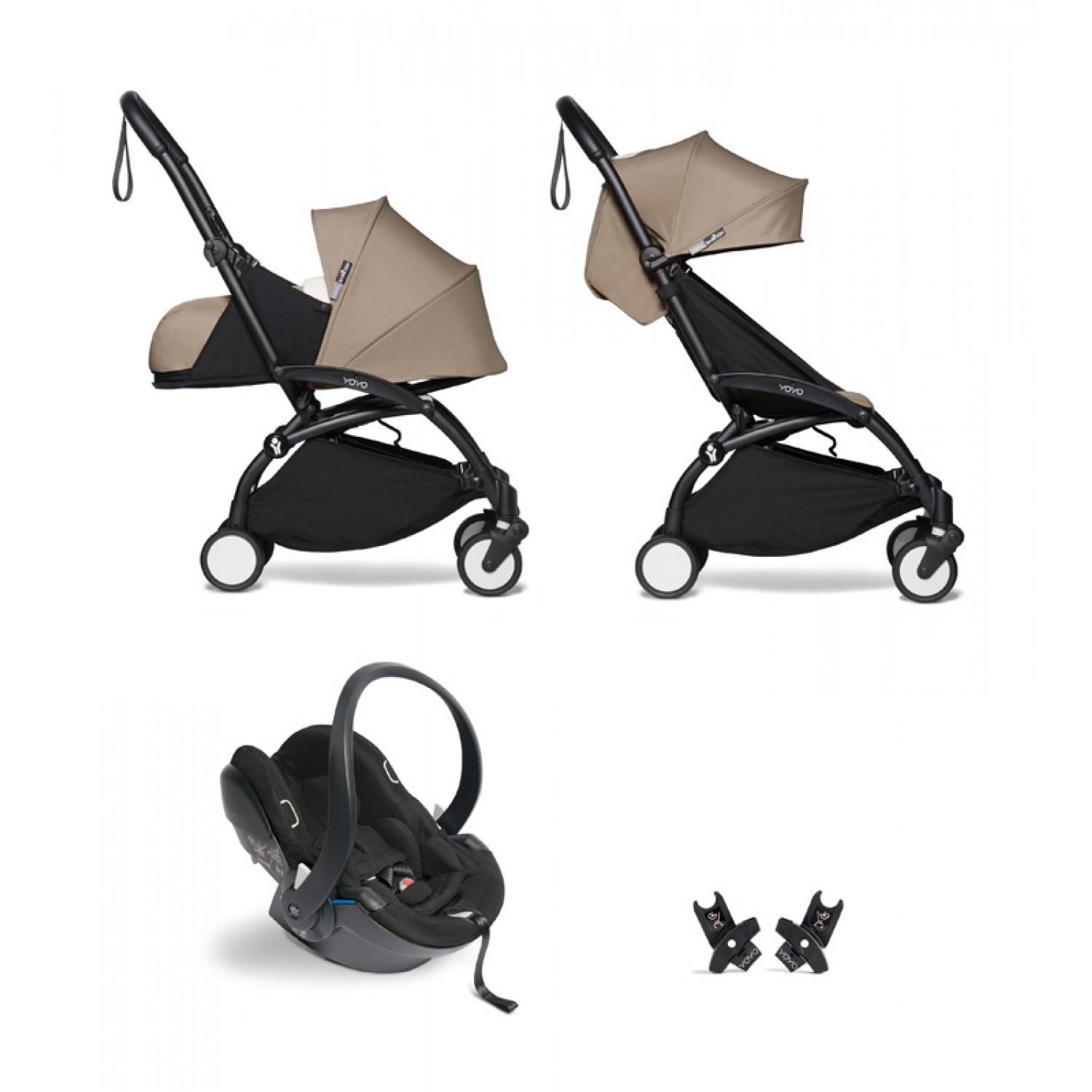 All-in-one BABYZEN stroller YOYO2 0+, car seat and 6+ | Black Chassis Taupe