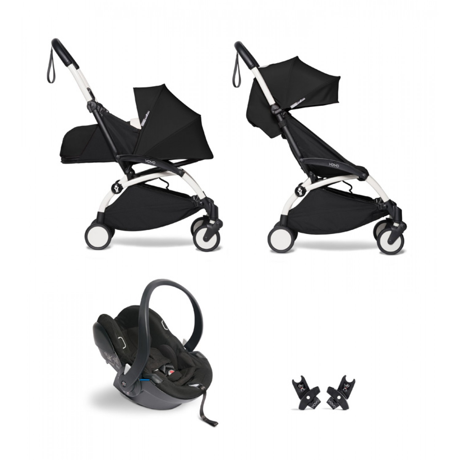 All-in-one BABYZEN stroller YOYO2 0+, car seat and 6+   | White Chassis Black