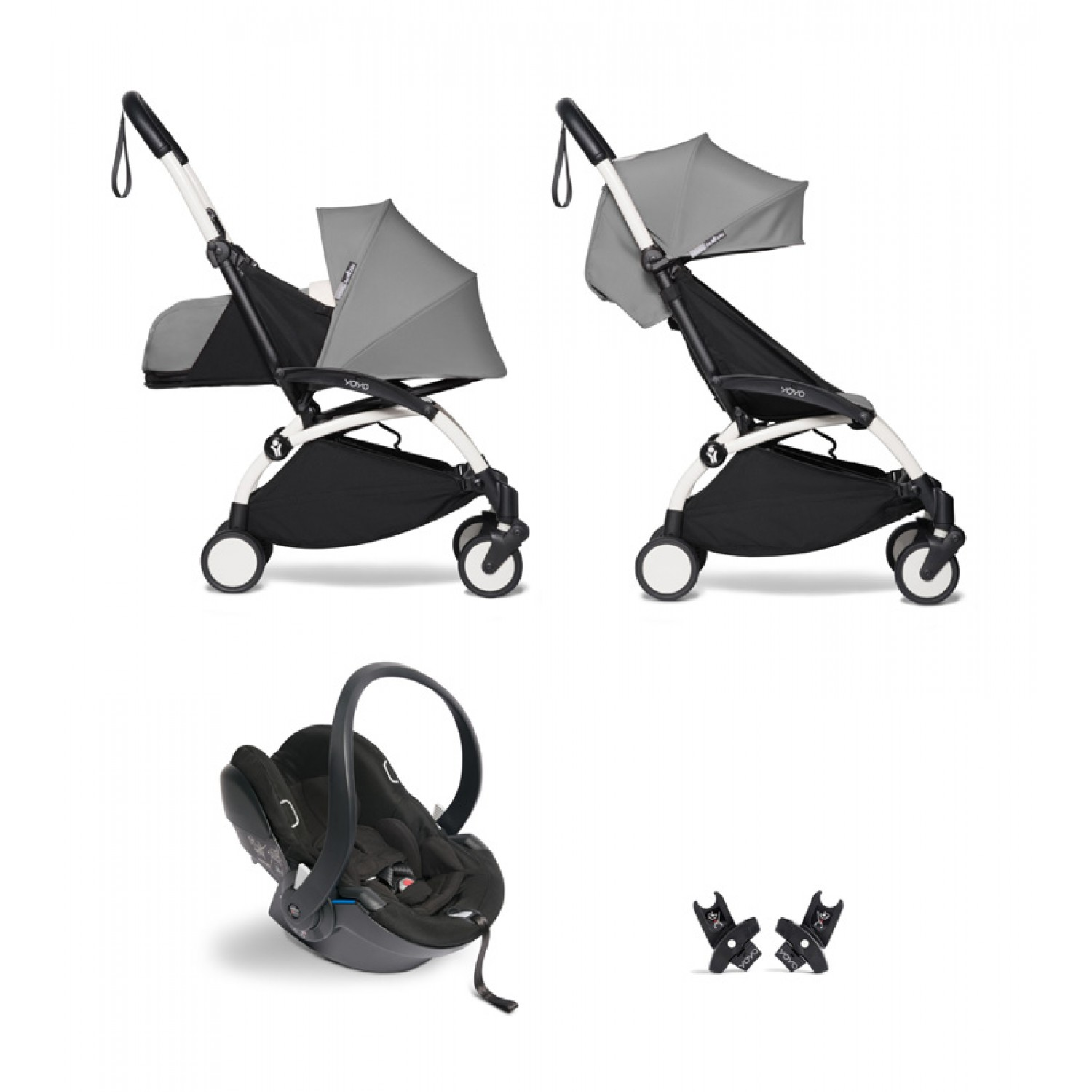 All-in-one BABYZEN stroller YOYO2 0+, car seat and 6+   | White Chassis Grey
