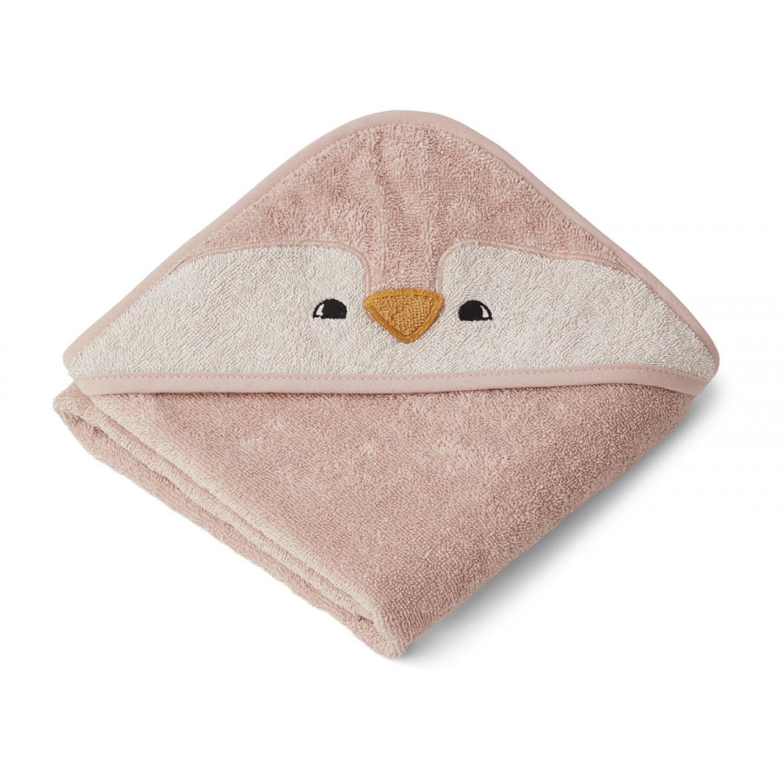 Albert Hooded Baby Towel | Penguin Rose