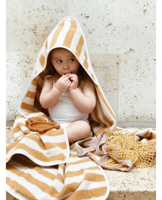 Louie Hooded Junior Towel - Y/D stripe: Yellow mellow/sandy