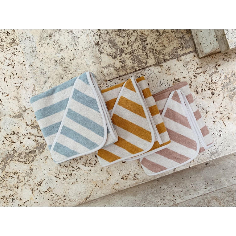 Louie Hooded Junior Towel - Y/D stripe: Rose/sandy