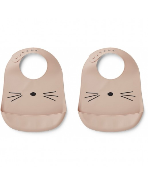TILDA SILICONE BIB - 2 PACK - CAT ROSE