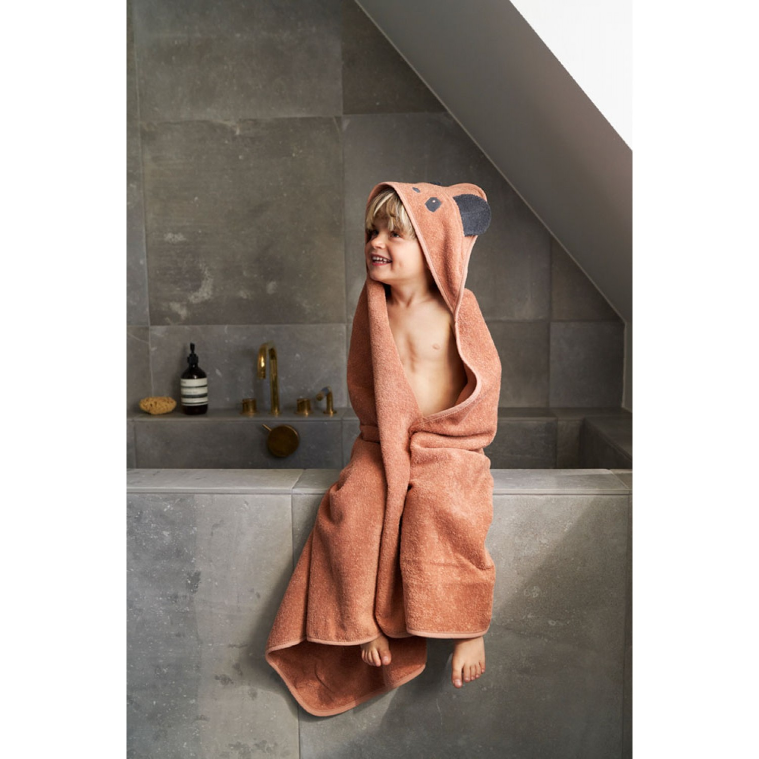 Albert Hooded Baby Towel |  Panda tuscany rose