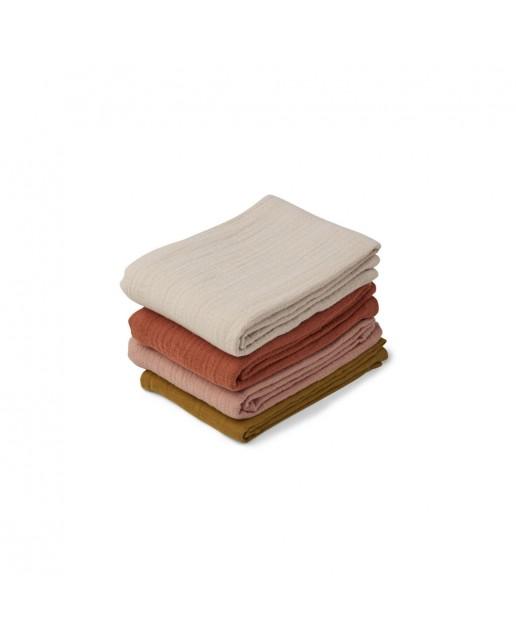 Leon Muslin Cloth 4 Pack   Rose multi mix