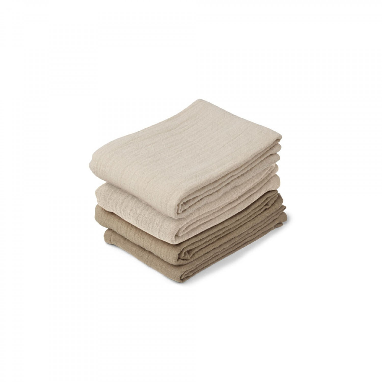 Leon Muslin Cloth 4 Pack   Natural/sandy mix