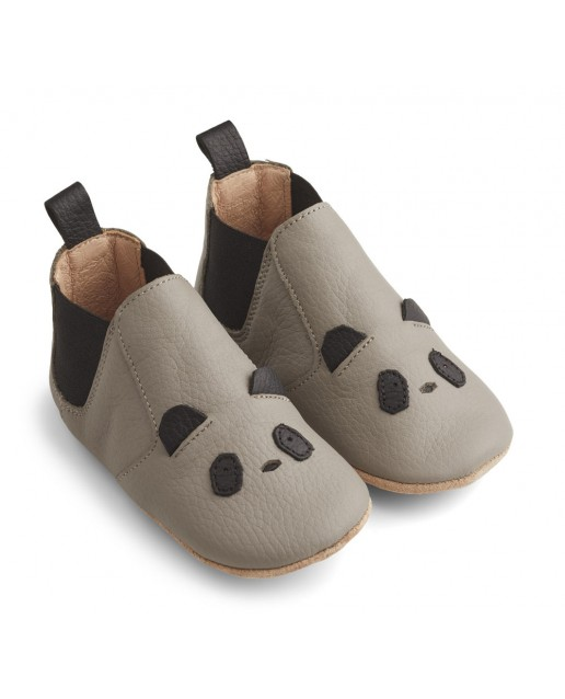 Edith Leather Slippers | Panda grey