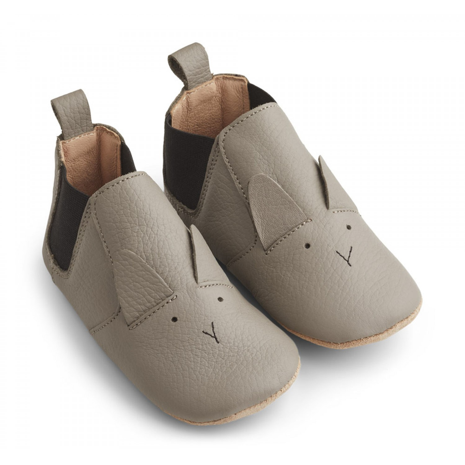 Edith Leather Slippers |  Rabbit grey