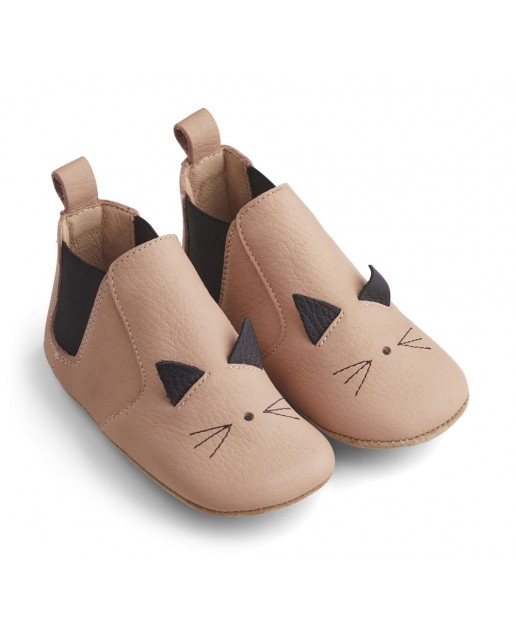 Edith Leather Slippers |  Cat rose