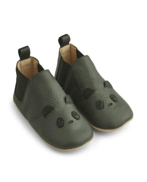 Edith Leather Slippers | Panda hunter green