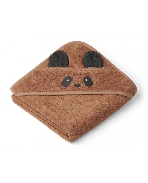 Albert Hooded Baby Towel |  Panda tuscany rose