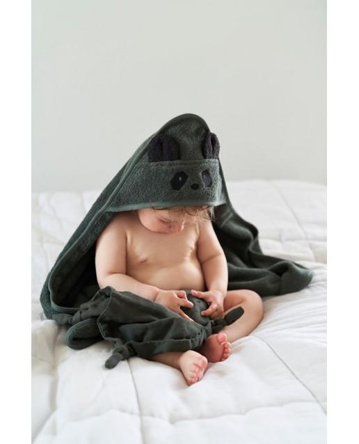 Albert Hooded Baby Towel | Panda hunter green