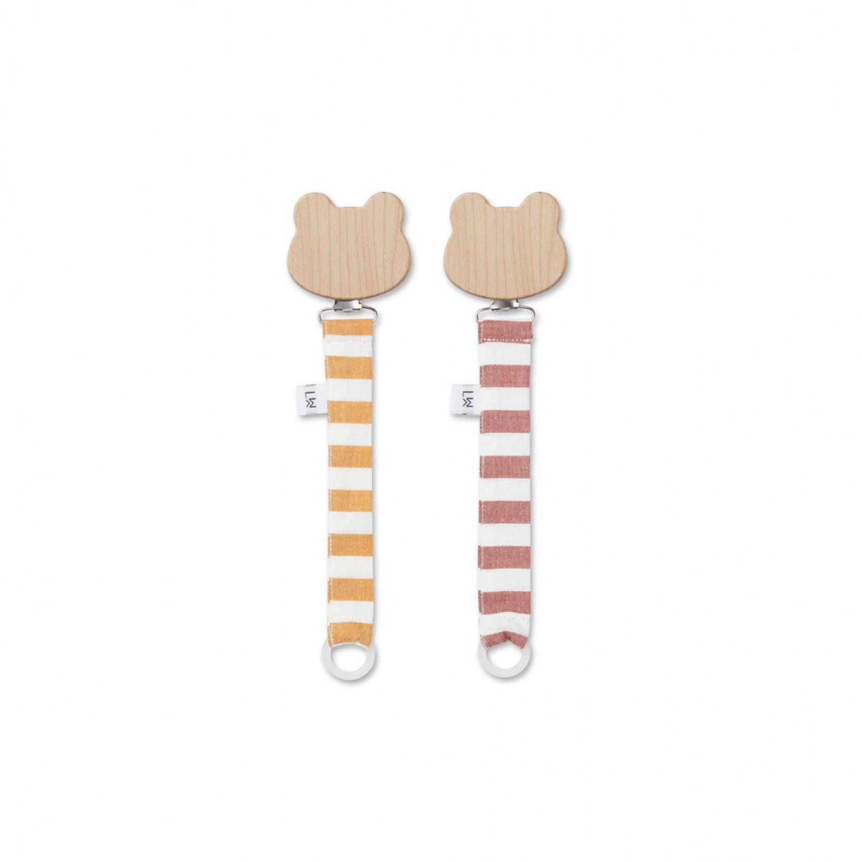 Sia Pacifier strap 2 pack - Mustard/Creme de la Creme