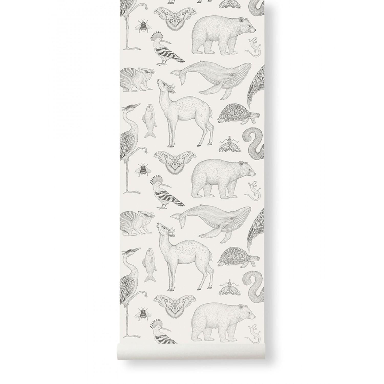 Katie Scott Wallpaper - Animals Off-White