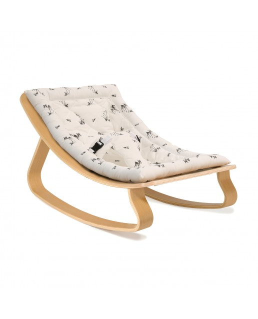Baby Rocker LEVO in Beech with Rose in April Fawn Cushion CHARLIE CRANE