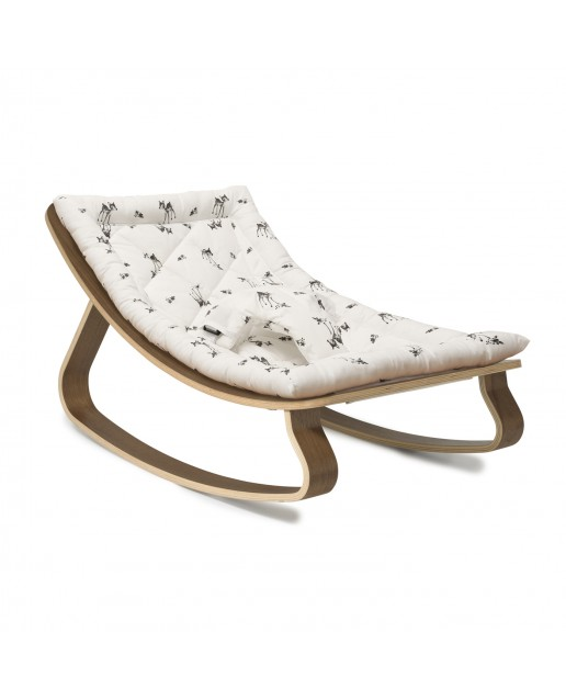 Baby Rocker LEVO i in Walnut with Rose in April Fawn Cushion CHARLIE CRANE