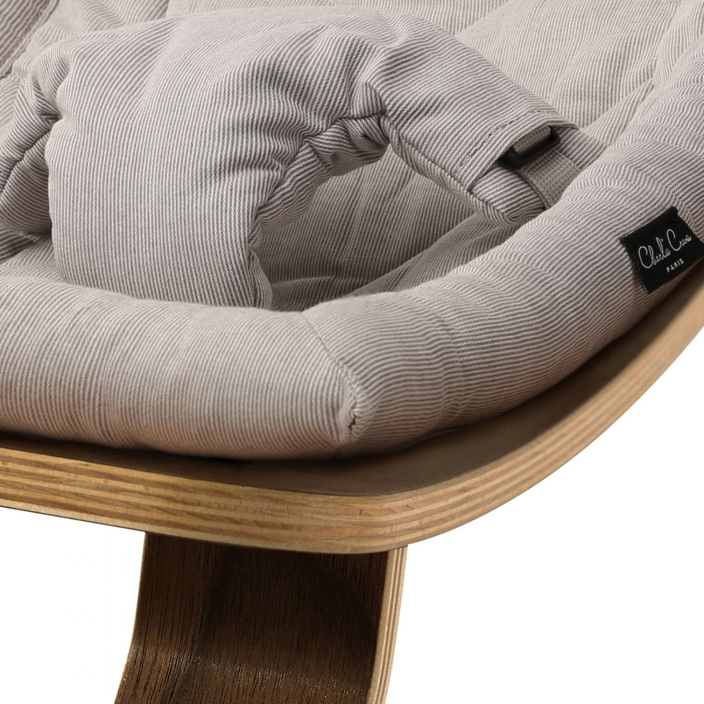 Baby Rocker LEVO in Walnut with Sweet Grey cushion CHARLIE CRANE