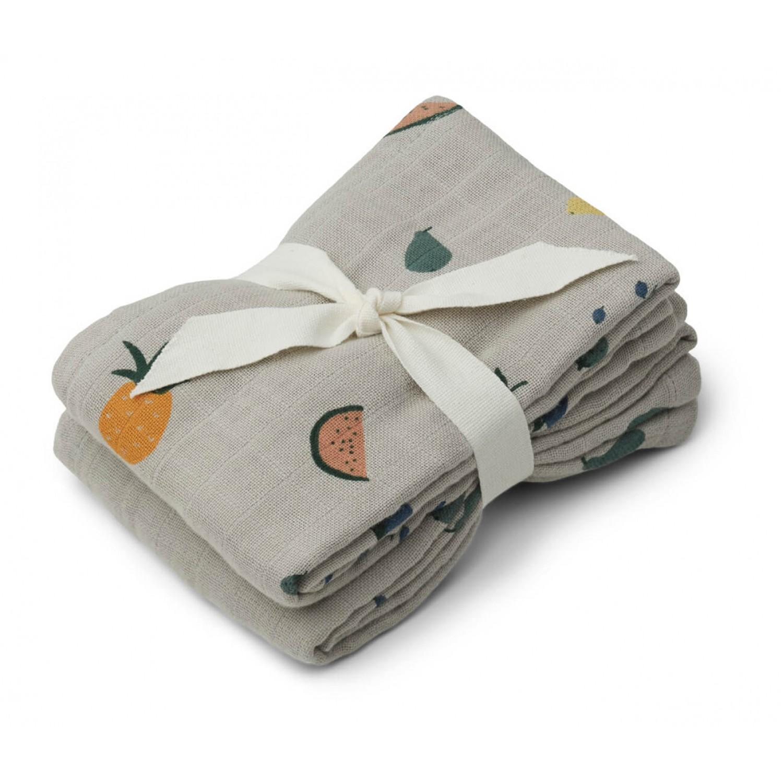 Lewis muslin cloth 2-pack  | Fruit dove blue