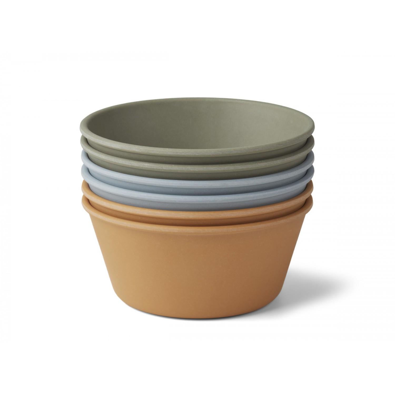 Greta Bamboo bowl - 6 pack | Blue Multi Mix