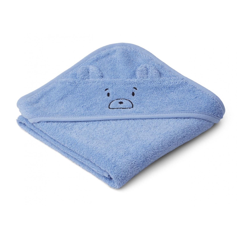 Albert Hooded Baby Towel | Mr Bear Sky Blue