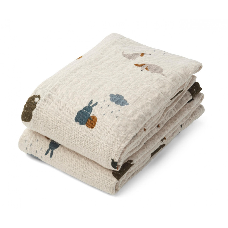 Lewis muslin cloth 2-pack Friendship sandy mix