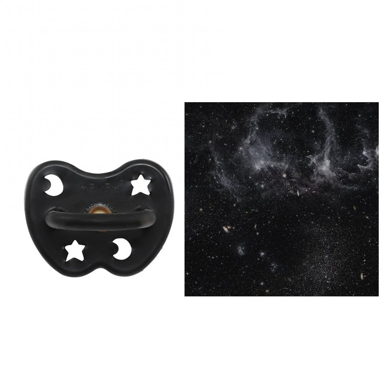Hevea Pacifier, Outer Space Black ORTHODONTIC 3-36 month