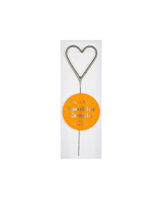 Mini Silver Sparkler Heart Candle