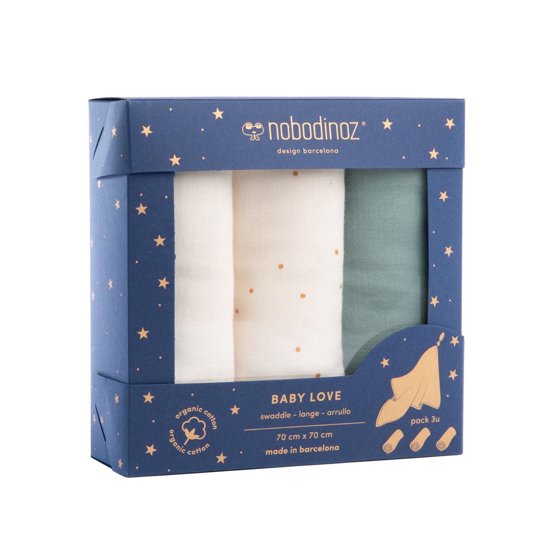 Box 3 Baby Love swaddles pack   Eden green