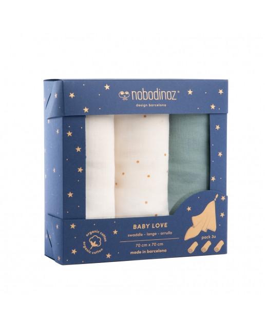 Box 3 Baby Love swaddles pack | Eden green